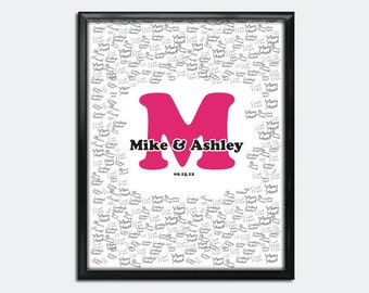 "Custom Wedding Guestbook Poster - Printable PDF - Large Initial - 16"" x 20"" - Personalized - Custom Colors"