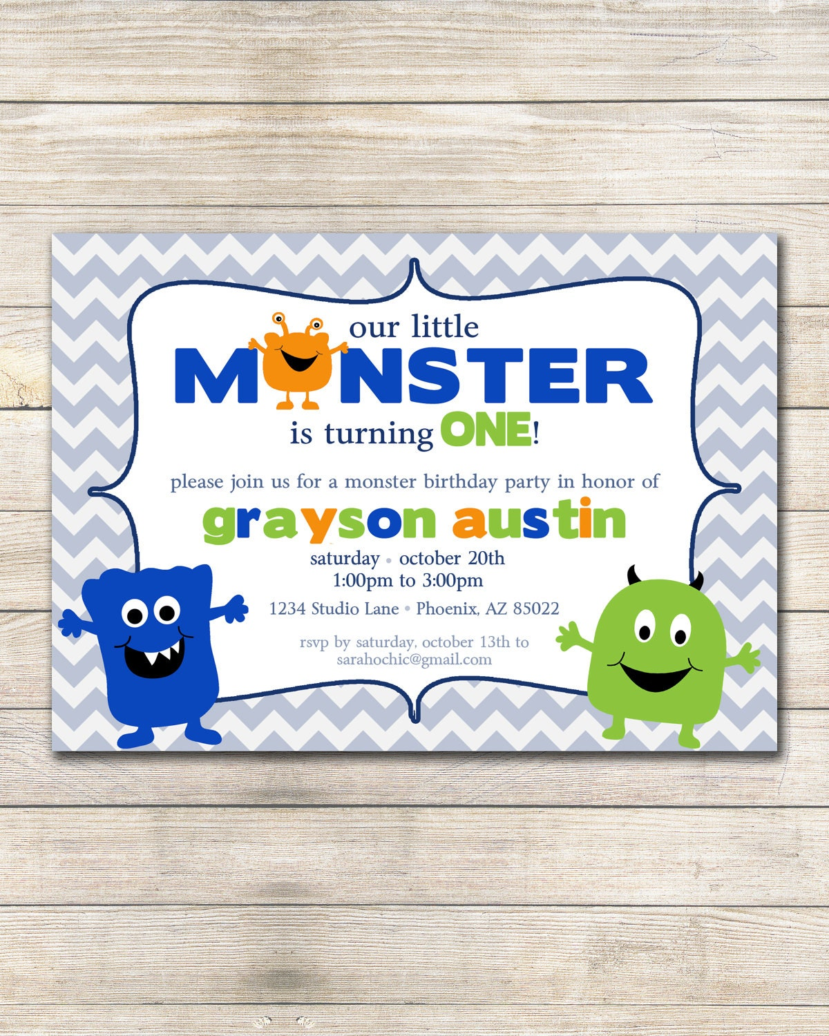 Little Monster Birthday Party Invitation sarah O chic