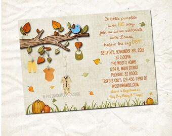 autumn baby clothesline shower invitation printable file
