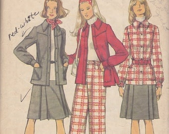 1972 Separates Vintage Pattern, Simplicity 5455, Shirt Jacket with Western Style Yoke,  Pleated Skirt, Wide Leg Pants with High Waistband
