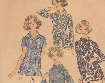 1972 Overblouse or Top Vintage Pattern, Simplicity 5359, Bias Rolled or Notched Collar, Long or Short Sleeves, Front Buttons or Back Zipper