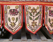 Boho oriental Valance, reach texture hand embroidered Trim Made in India, Vintage Lintel valance, Autumn Harvest, fabric wall art