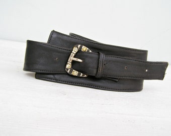 80s Leather Belt Size M L, Bling Bold Buckle, Vintage Woman Belt, Soft Wide Black Belt, Casual Hipster Fashion Belt