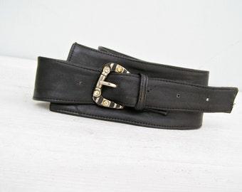 80s Leather Belt Size M L, Bling Bold Buckle, Vintage Woman Belt, Soft Wide Black Belt, Casual Hipster Fashion Belt