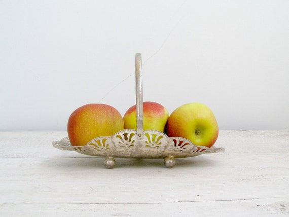 Mid century Candy Bowl, Vintage serving Platter, Traditional Shabby chic small Basket Bowl