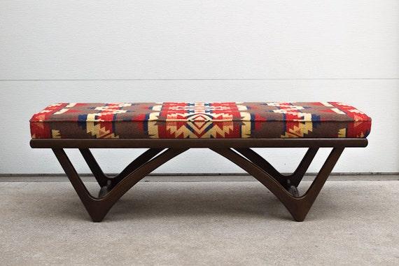 Vintage Mid Century Custom Upholstered Pendleton Style Blanket Bench Ottoman