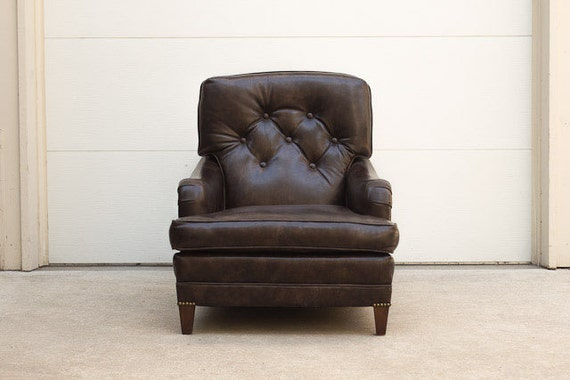 SOLD Vintage Dark Brown Leather English Roll Arm Club Chair