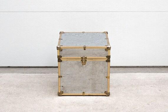 Vintage Hollywood Regency Mirrored Box Side Table