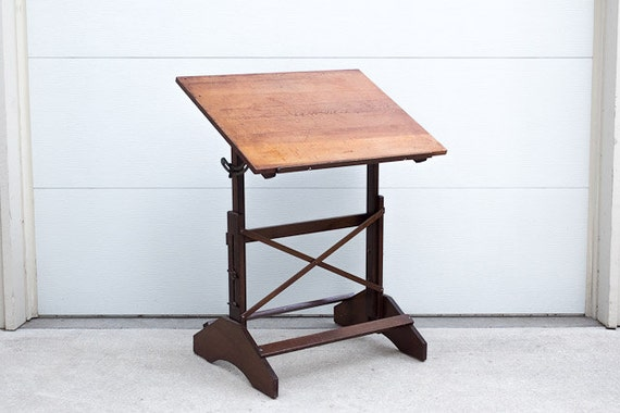 SOLD Vintage Industrial Anco Bilt Distressed Wood Drafting Table
