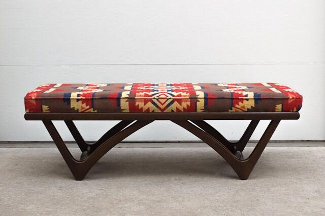 Vintage Mid Century Custom Upholstered Pendleton Style Blanket