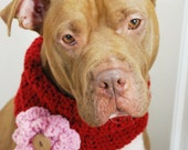 Crochet Dog Cowl Cranberry Red with Pink Flower Made to Order