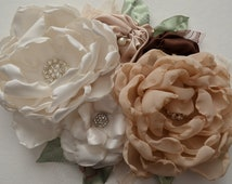 Flower Pin - Five Flower Pin - Shades of Cream and Champagne, Sage Leaves, Vintage Style Flower Pin, Waist Pin, Bridal Pin