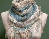 Free Holiday Shipping - Handmade triangle scarf in blues and whites
