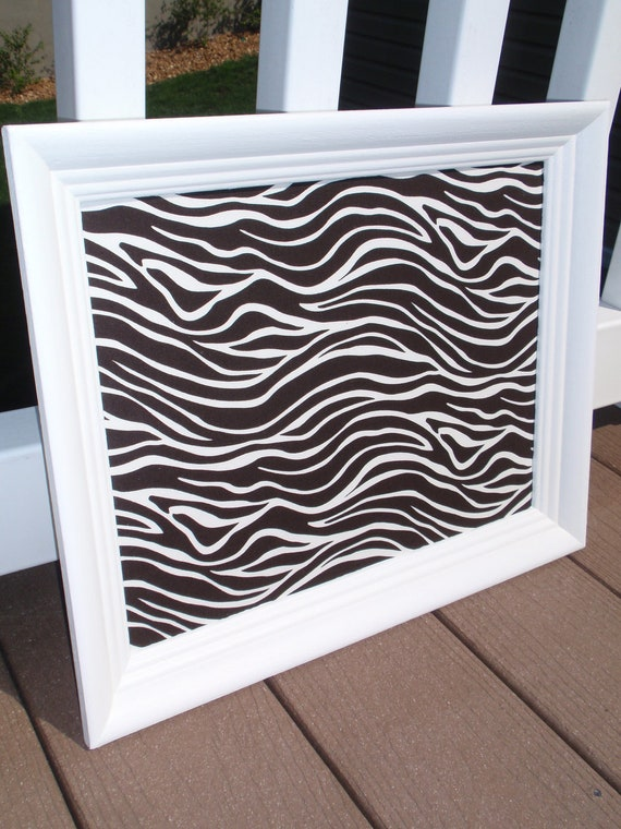 Framed Magnetic Bulletin Board / Makeup Display with Chocolate Brown & White Zebra Fabric in White Frame with Five Magnets