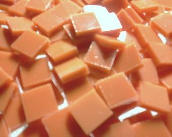 "1/2"" PUMPKIN ORANGE / CREAMSICLE Orange Stained Glass Tile A15"