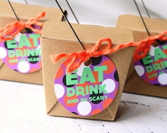 Halloween Party Favor Gift Bag Tags Halloween Goodie Bag Favor Bag Halloween Party Eat Drink and Be Scary Favor Tags Goodie Bag- Set of 15