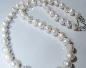 Hand Knotted Faceted White Freshwater Pearls necklace