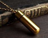 Secret Capsule Necklace - Poison Pill Box - Message in a Bottle - Gold Brass