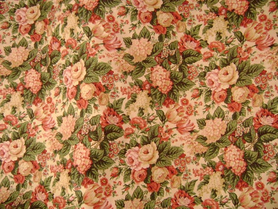 "Gorgeous Barkcloth Home Decor Fabric - Floral Bouquet's of Roses, Tulips and Hydrangea's 54"" Wide - Sewing - Cushions - Curtains - Pillows"