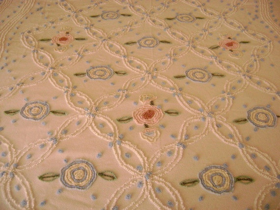 Vintage Chenille Bedspread - White with Pink & Blue Flowers - Beach Cottage - Retro Decor - Twin Size