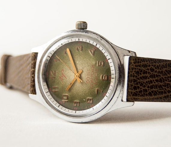 Unisex mechanical watch Luch, silver, olive tones, 60 years of Soviet power