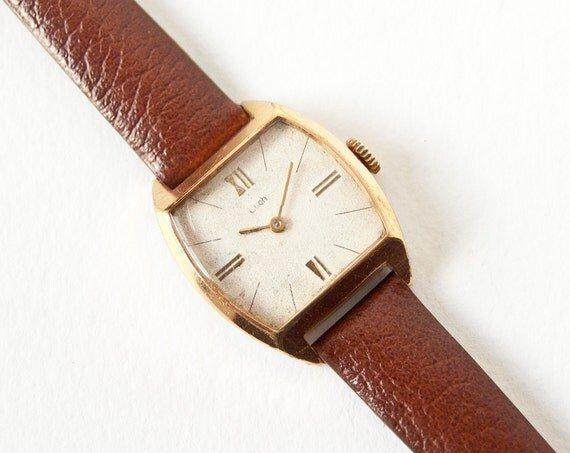 Womens wrist watch Luch, gold plated, brown rust leather strap, Soviet Era