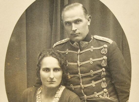 Hussar and woman photo, antique photo, original print, Europe