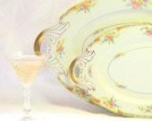 Vintage Black Knight China Ornate Gold Floral Platters Large Gold Pink Floral Serving Trays Matched Set Oval Handled Mix Match China Plates