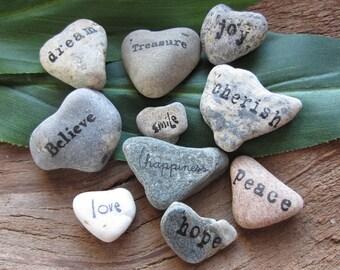 Jar Of Beach Heart Stones, Valentine/Spiritual/Friend/Gift
