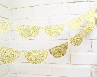 The Glam Scallop Garland, Wedding Garland, Gold, Glitter, Wedding Shower, Baby Shower, Birthday Decoration