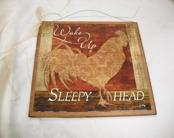 Wake Up Sleepy Head Rooster Wooden Kitchen Wall Art Sign Country Decor