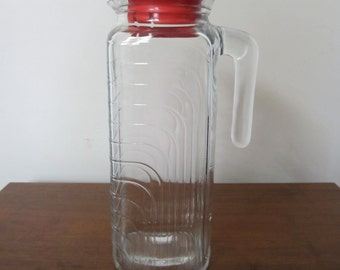 Vintage Italian Covetro Glass Pitcher (Red)