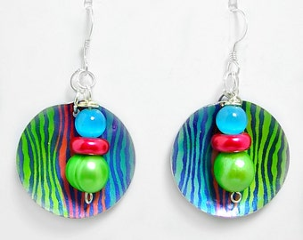 NEON, Bright, Fun, Colorful Metal Earrings,  Green, Blue, Orange-Red