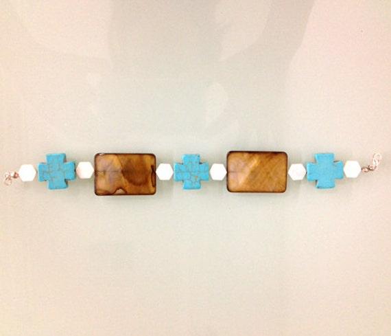 Turquoise Cross with natural color stones