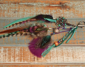 Last One// Turquoise Deerskin Gypsy Boho Feather Purse Charm
