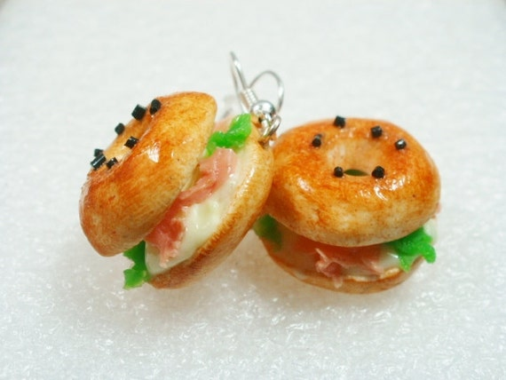 Bagel Earrings. Polymer Clay.