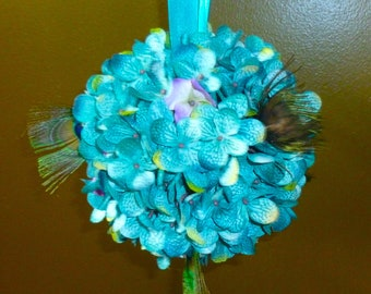 Teal hydrangea pomander, kissing ball with peacock feather accent