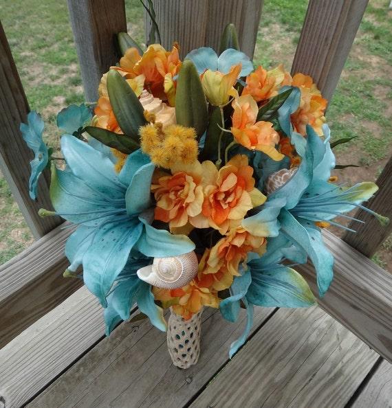 Beach Wedding Flowers: Beach Wedding Bridal Bouquet With Seashells Free By