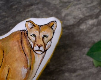 Mountain Lion Pillow Toy.  Hand-Painted Organic Stuffed Animal by AlyParrott on Etsy.