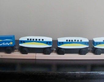 Handmade Wooden Toy Train-4 Car Passenger Train