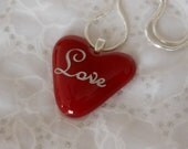 Love Pendant Necklace, Fused Glass  Red Heart Pendant, Love Heart Pendant Necklace