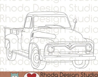 Vintage Pickup Truck Stamp Digital Clip Art Retro