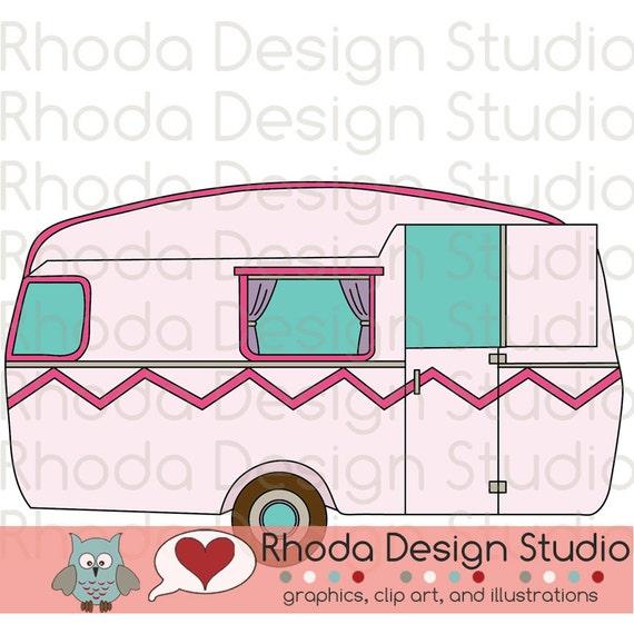 Vintage Camper Shabby Pink Digital Clip Art Retro Camp