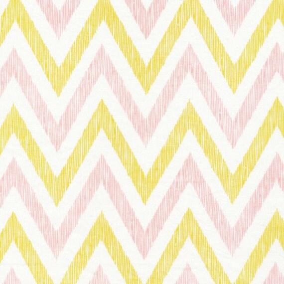 ORGANIC Cotton Fabric, Chevrons in Pinkish, Simpatico by Michelle Engel Bencsko for Cloud9 Fabrics, 1 Yard