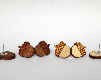 Acorn Earrings - Handmade - Laser Cut