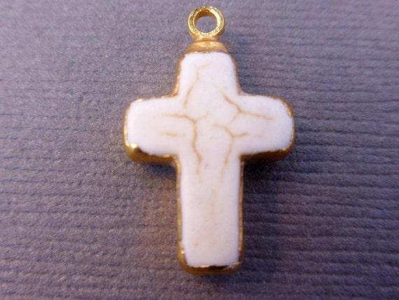 White Howlite Cross Pendant Charm with 24k gold edging S3B9-21