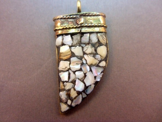 Horn Pendant Mother of Pearl Large Pendant