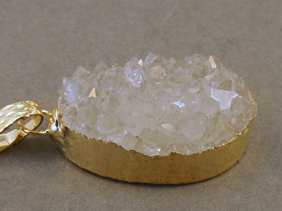 Druzy Crystal Gemstone edged in Gold- Drussy Druzzy Drusy Pendant High Quality Druzy Stone