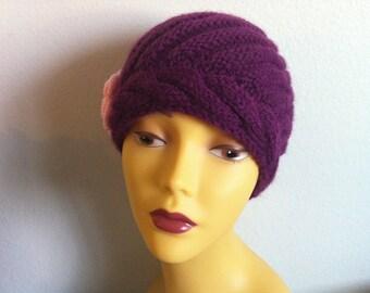 Purple Women Beanie Hat With Flower, Knit Beanie Hat With Flower In Purple, Usa Seller