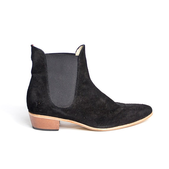 items similar to black suede beatle boots cuban heel